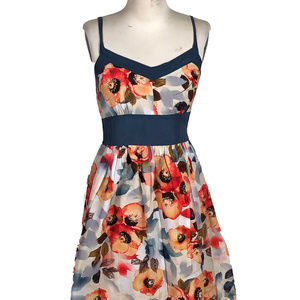 ANTHROPOLOGIE BURLAPP Silk Blend Floral Dress GUC